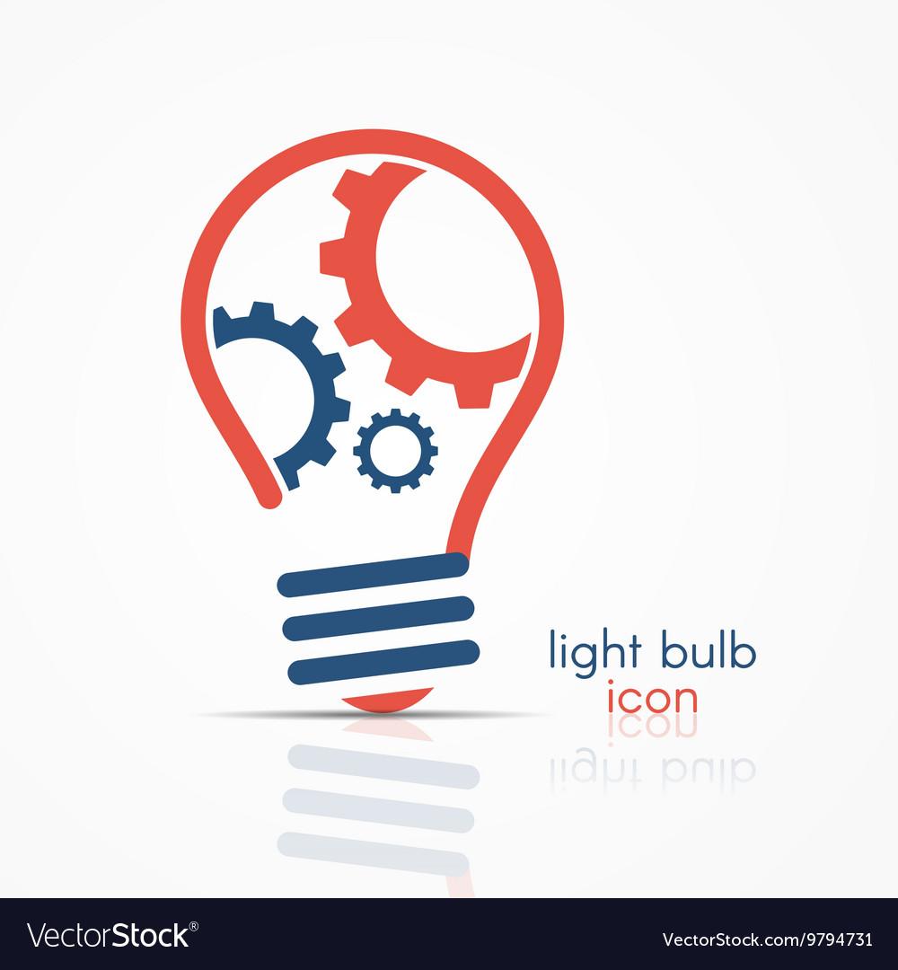 Light bulb idea icon with three gears vector image