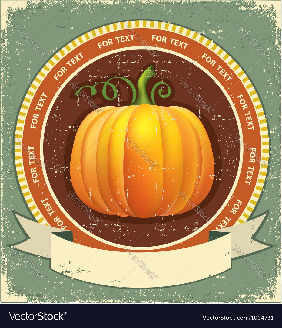 Pumpkin label with scroll for text vintage icon on vector image