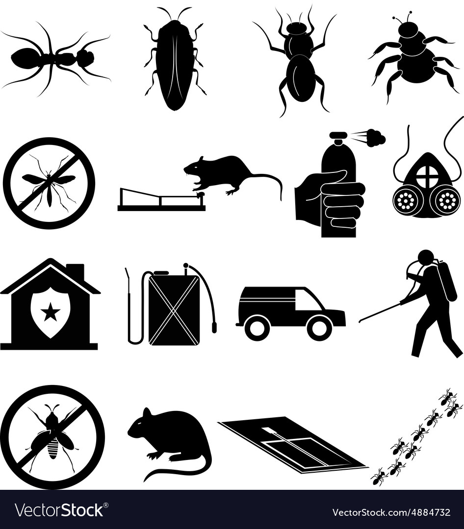 Exterminator icons set vector image