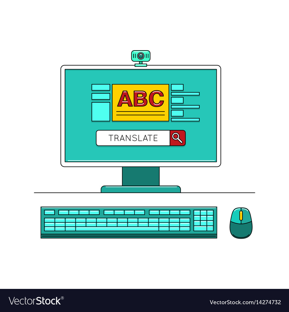 Online learn language concept with computer vector image