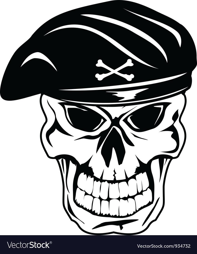 Skull in beret vector image