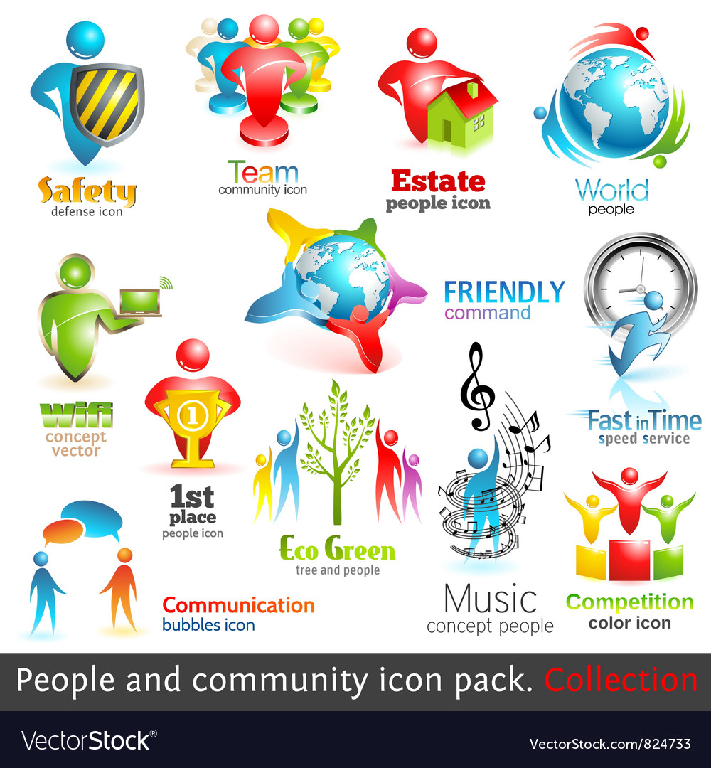 People community 3d icons vector image