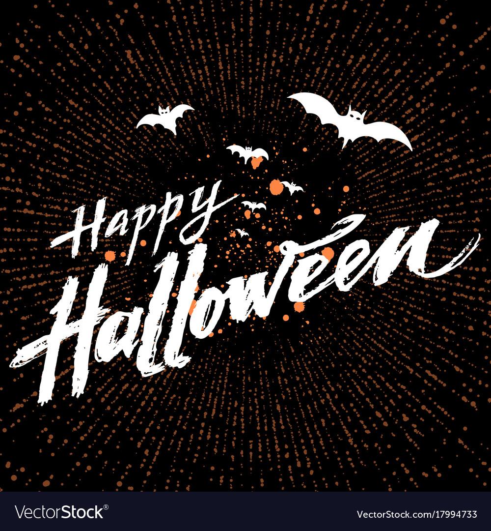 Happy halloween dark background with orange vector image