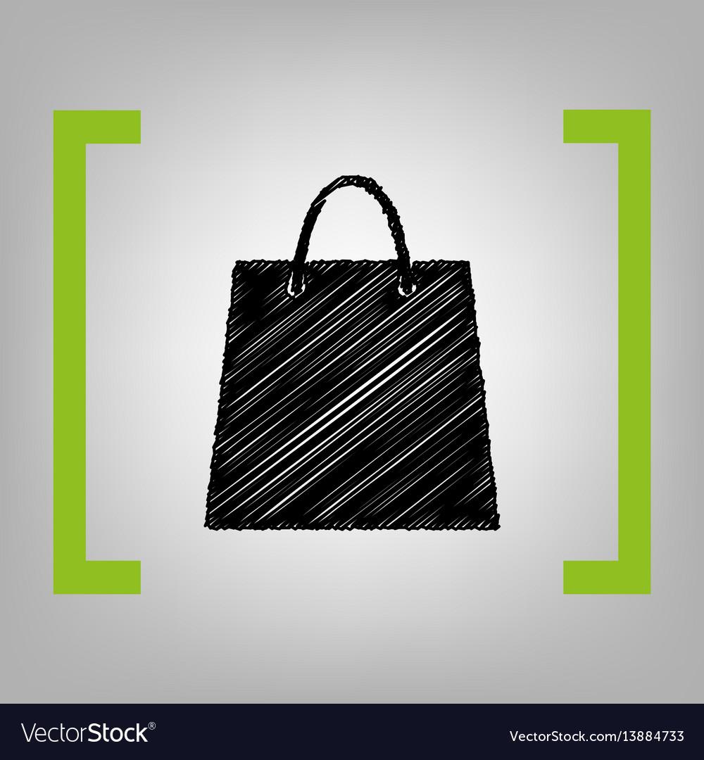 Shopping bag black scribble vector image