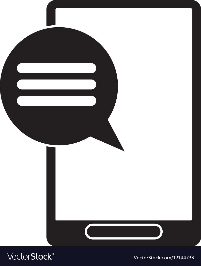 Silhouette smartphone communication bubble speech vector image