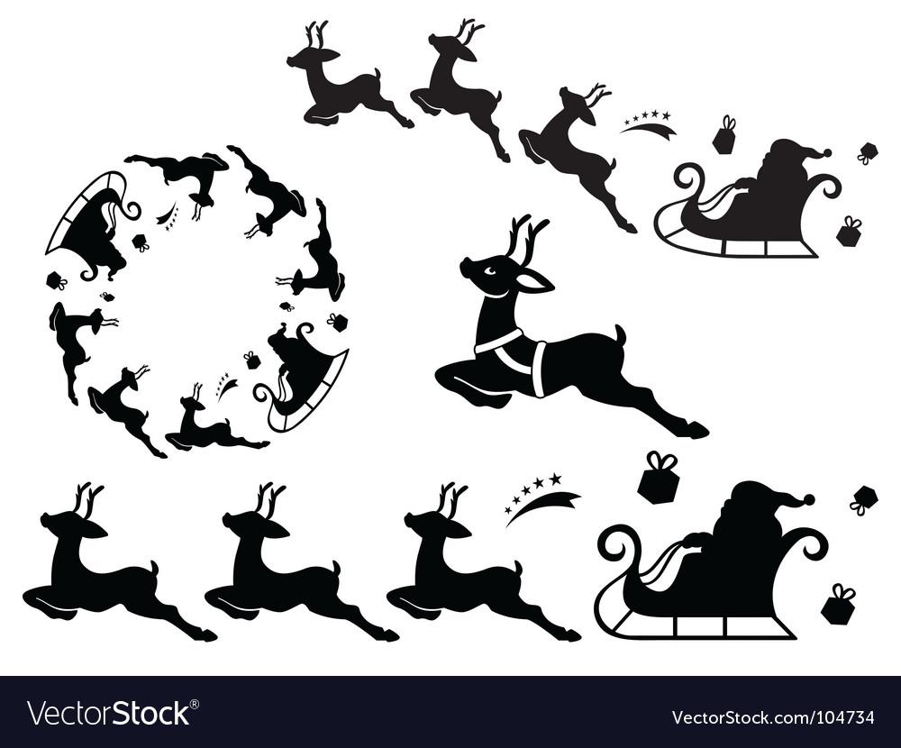 Santa sleigh ornament vector image