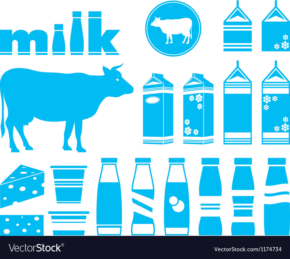 Set icons of milk vector image