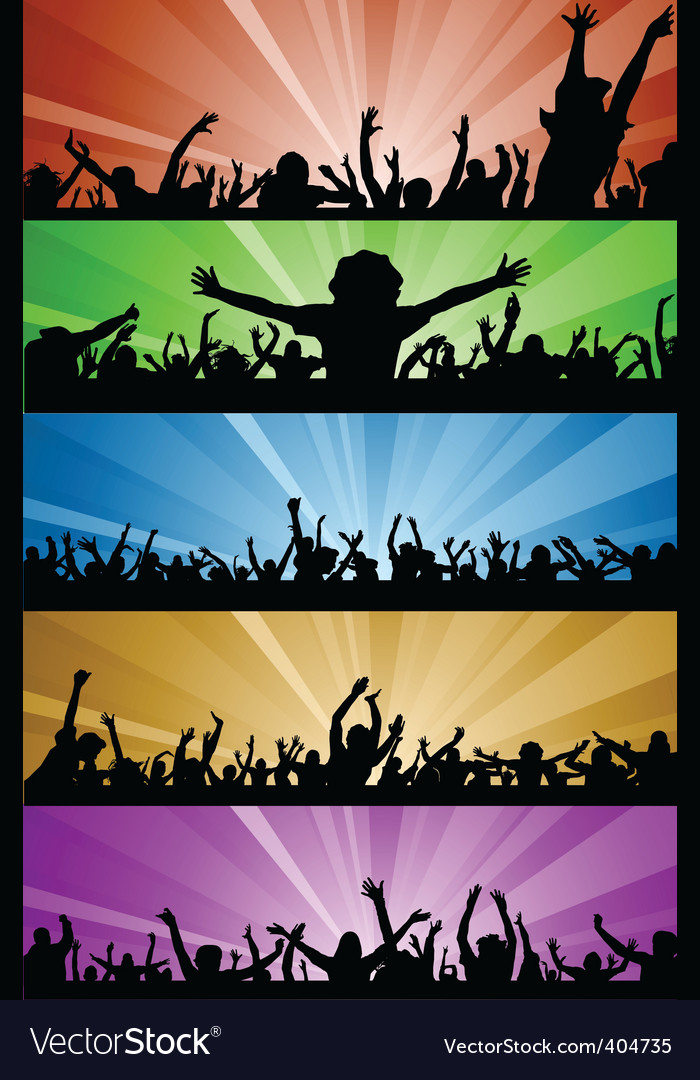 Party people with lighting vector image