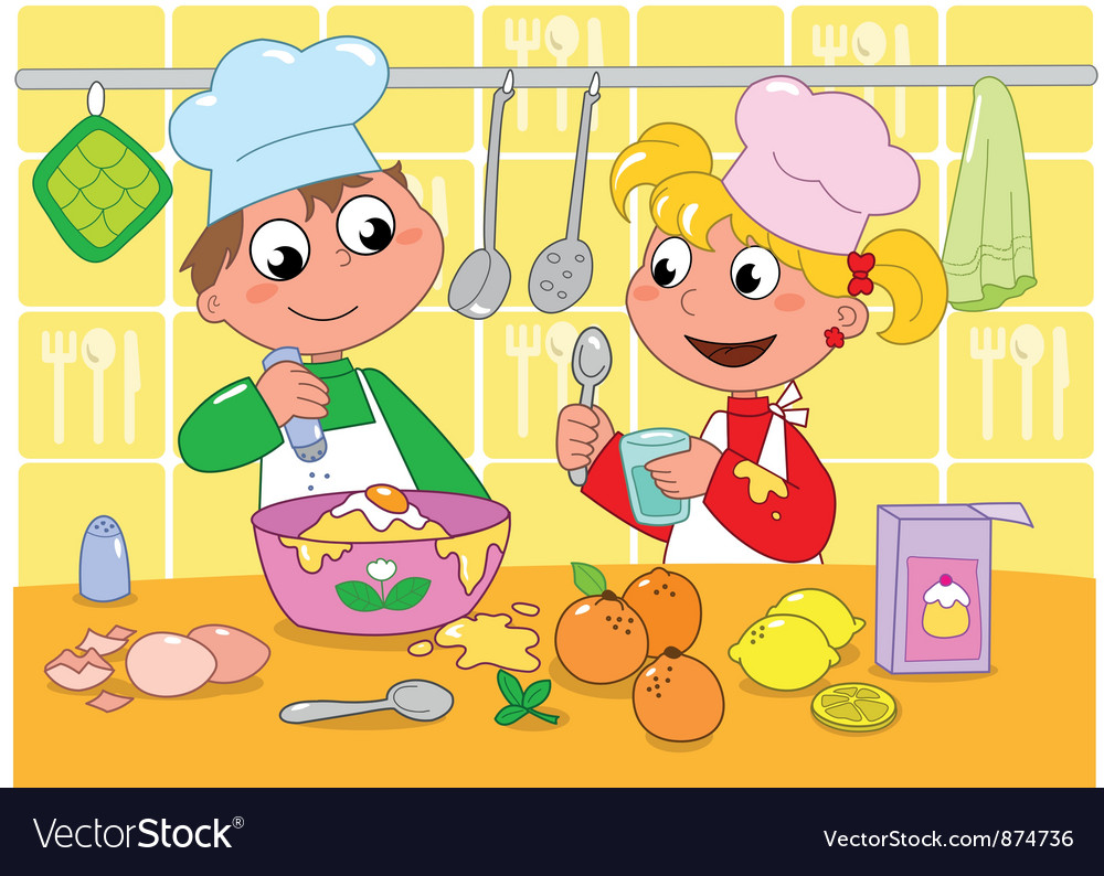 Boy and girl cooking vector image