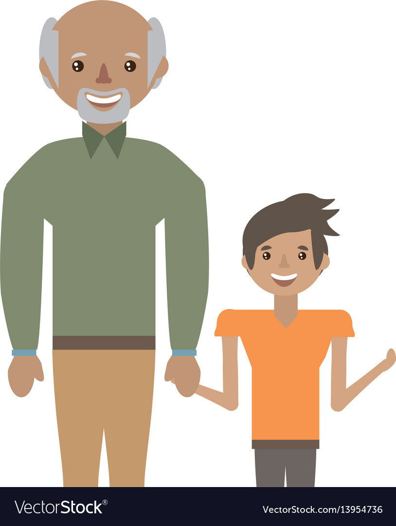 Grandpa with grandson smiling vector image