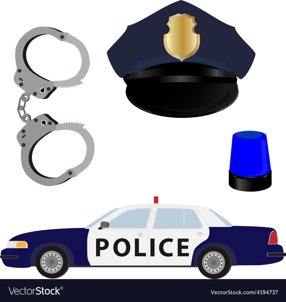 Police icon set vector image