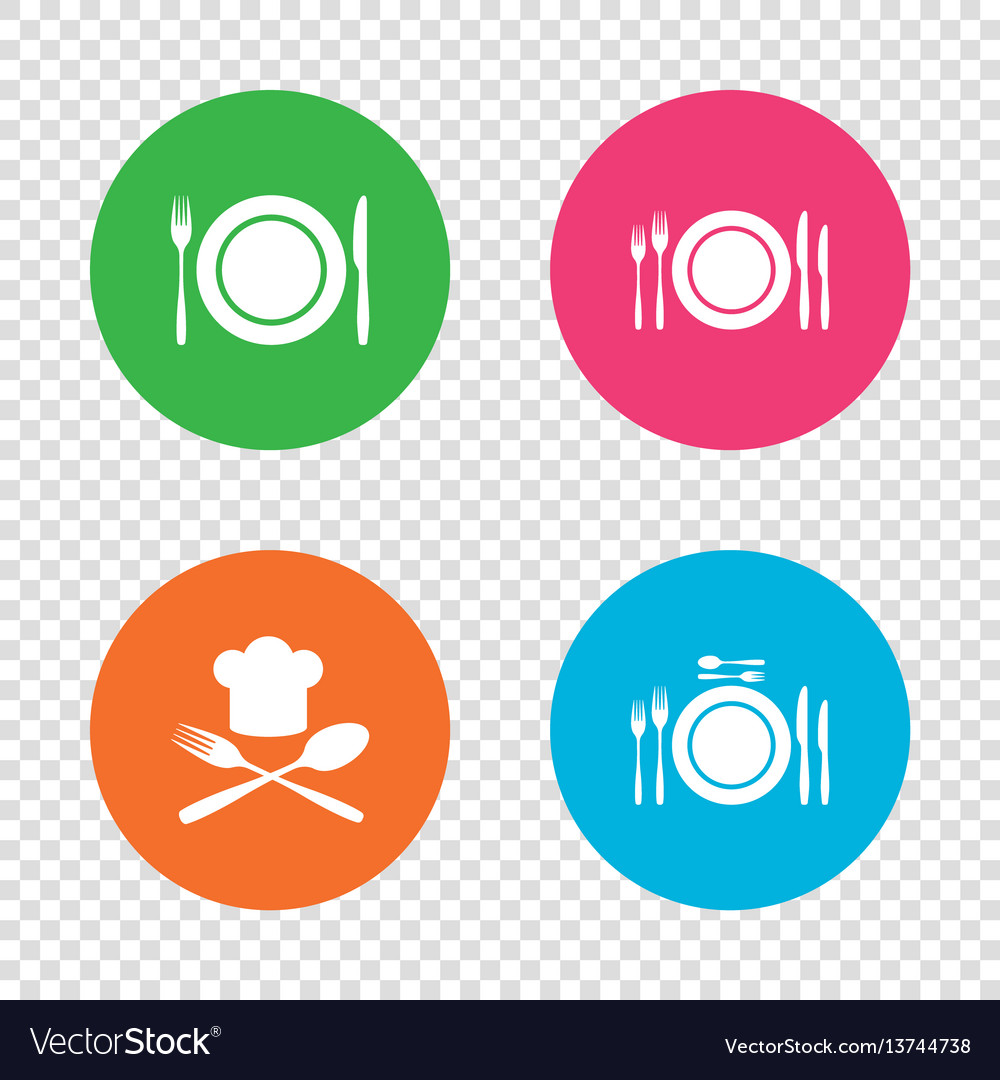 Plate dish with forks and knifes icon chief hat vector image