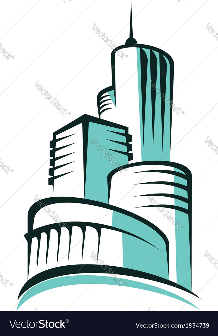 Abstract urban skyline with modern architecture vector image