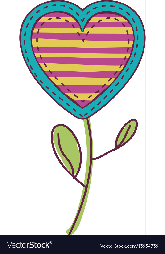 Colorful heart flower shape with lines pattern and vector image