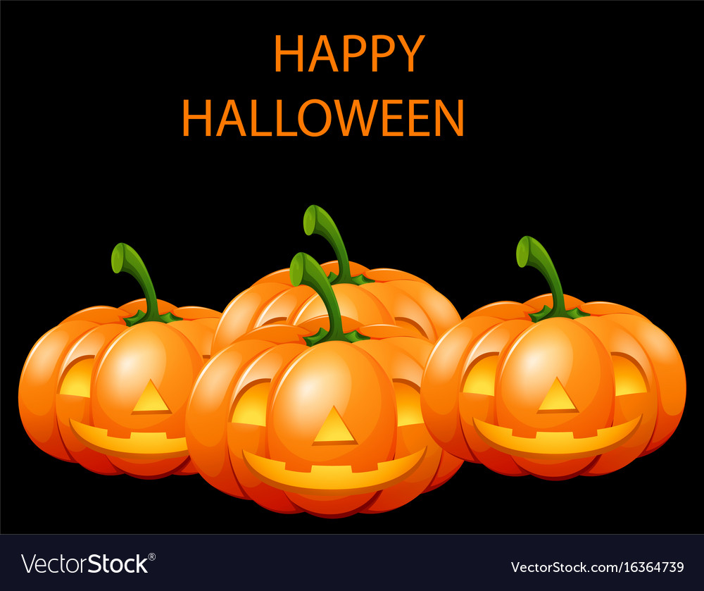 Happy halloween card with jack o lanterns vector image