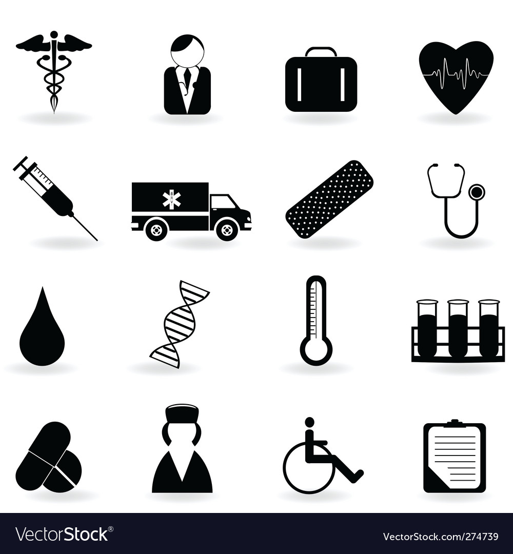 Medical and health icons Royalty Free Vector Image