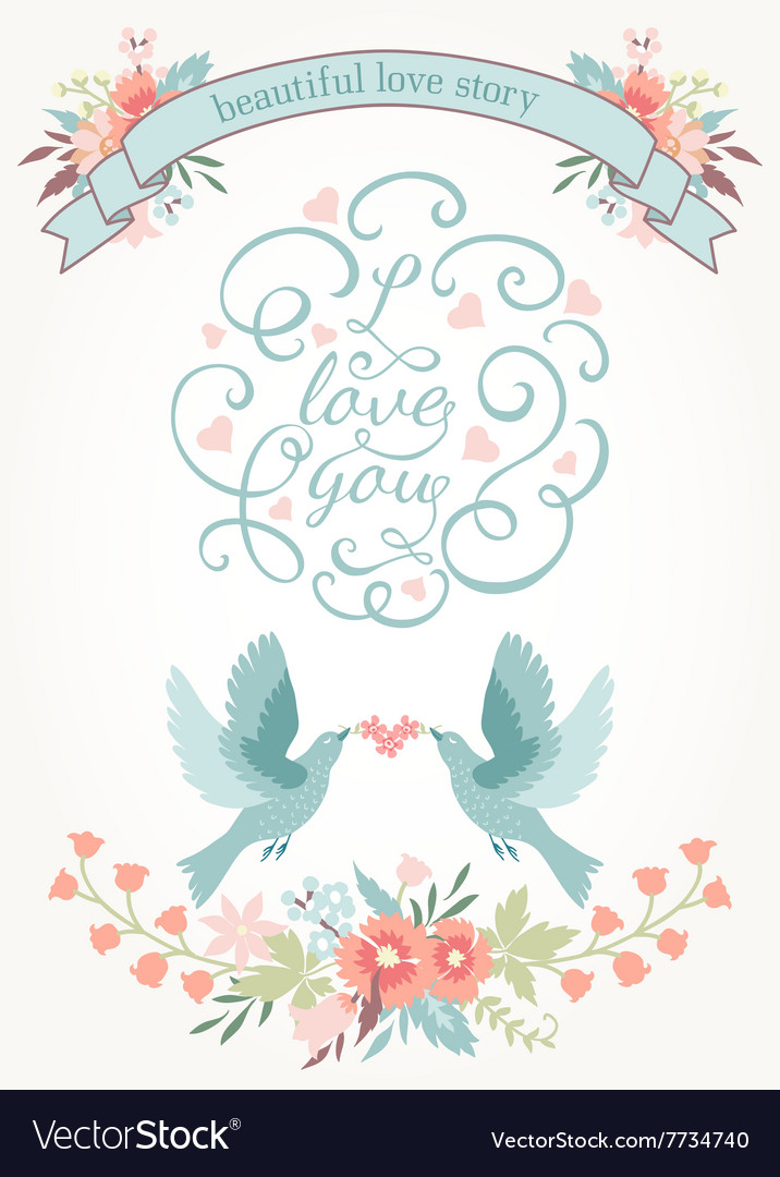 Cute Wedding Invitation With Flowers Love Birds Vector Image