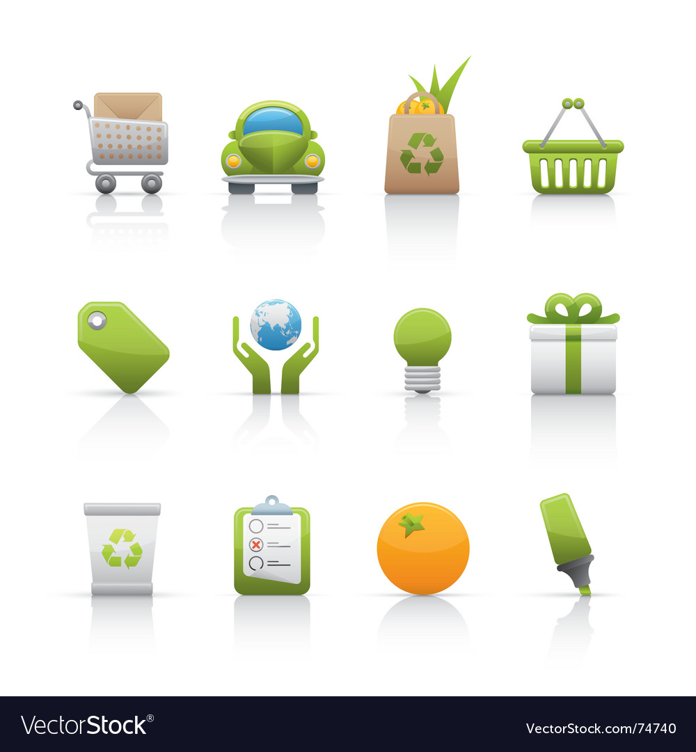 Icon set ecology vector image