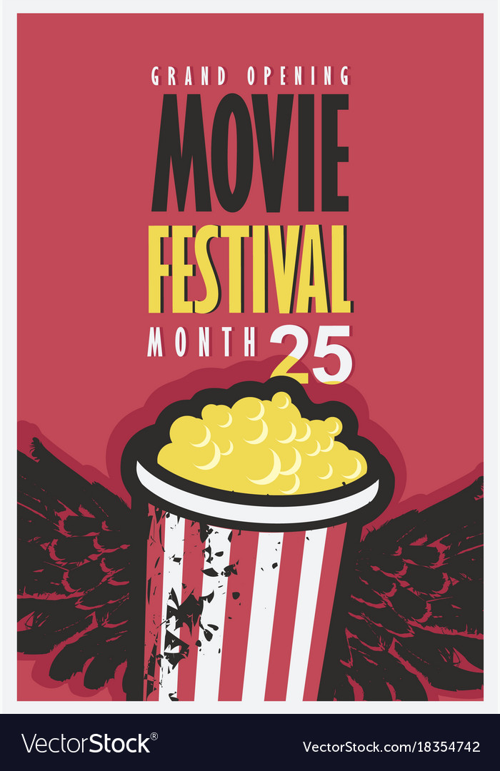Movie festival poster with popcorn bucket vector image
