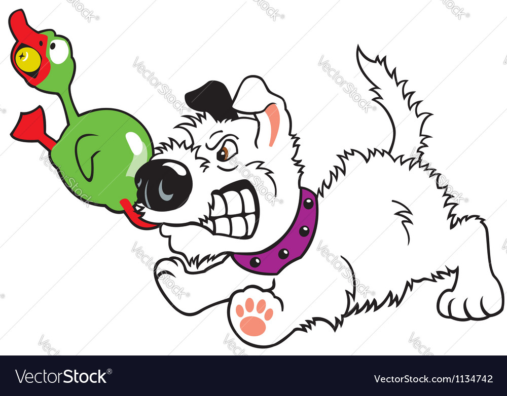 Puppy with toy duck vector image
