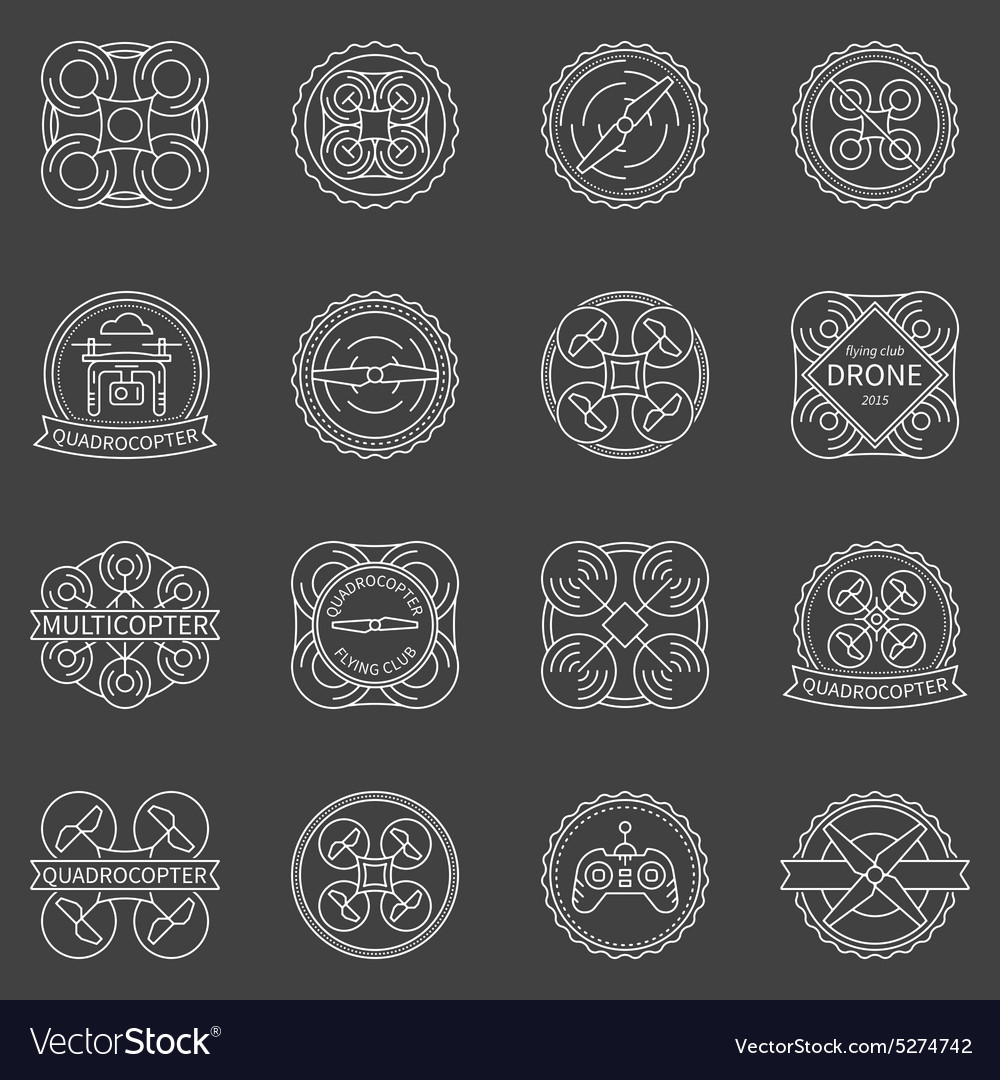 Quadrocopter labels or badges vector image