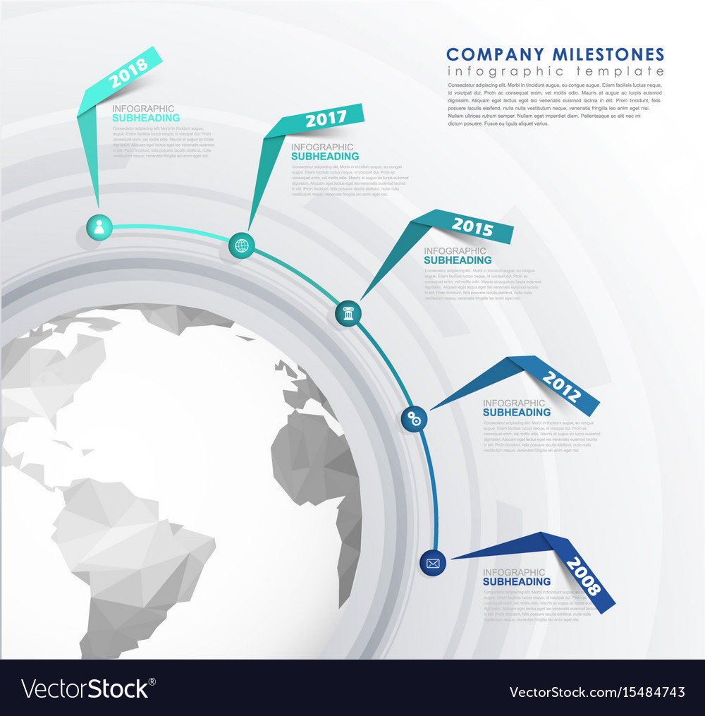 Infographic startup mile stones timeline template vector image