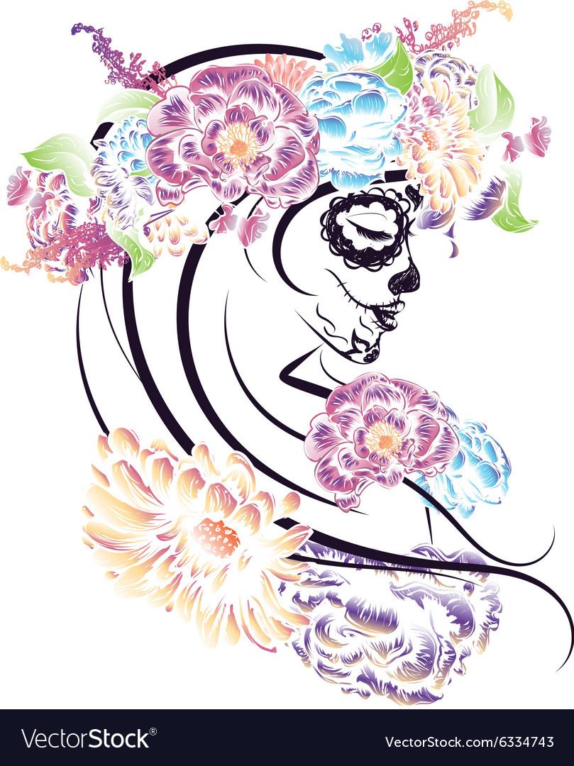 Sugar Skull Girl in Flower Crown4 vector image