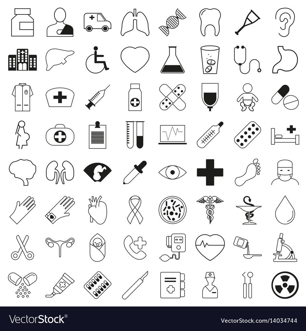 Set of 64 medical icons thin line style vector image