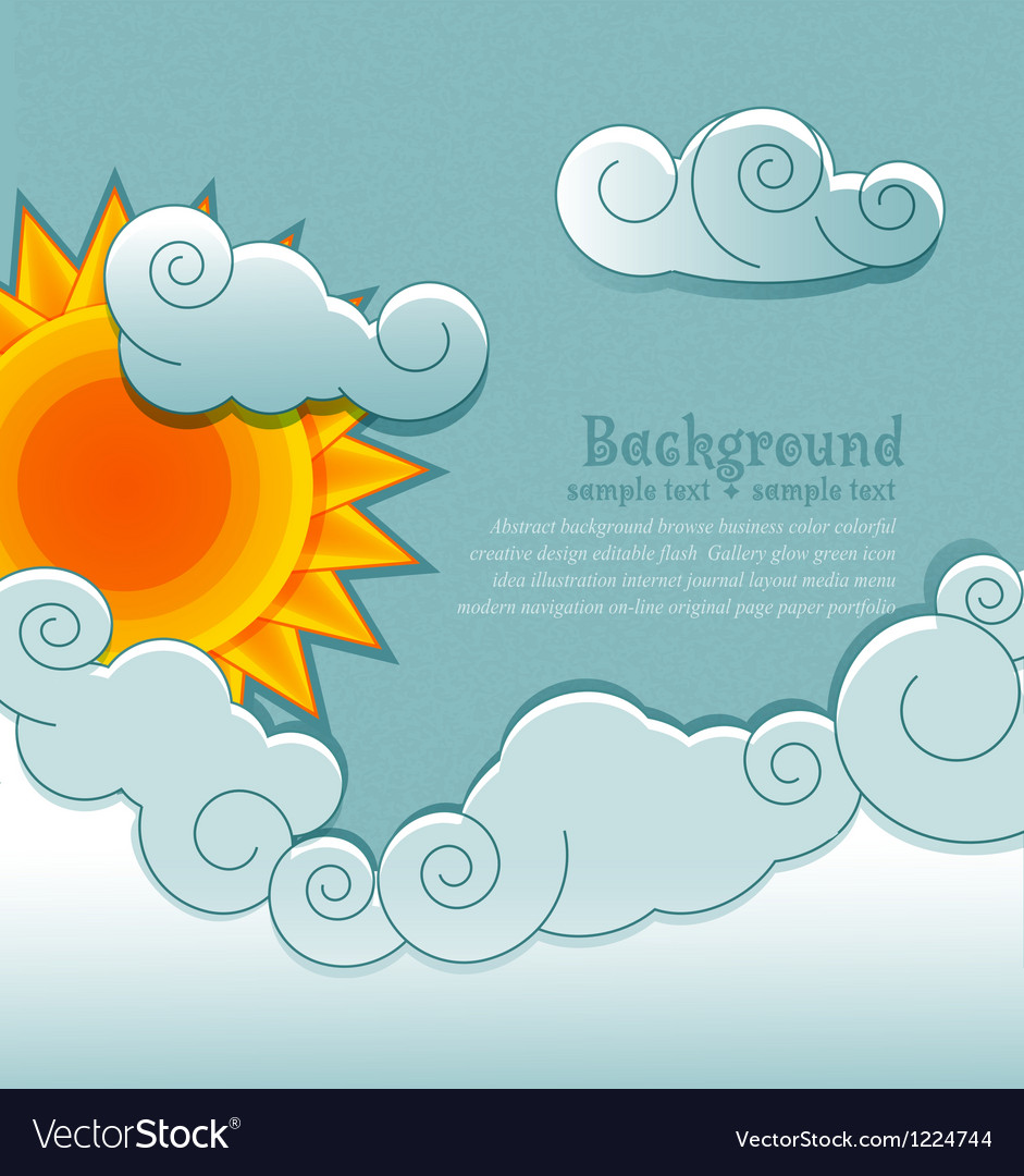 Vintage background with sun and clouds vector image