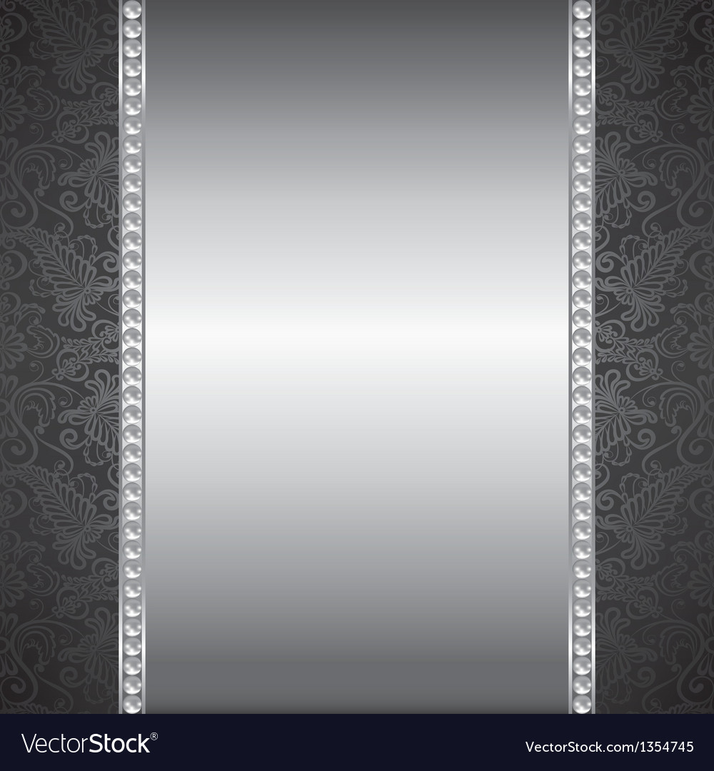Pearl and silver frame vector image