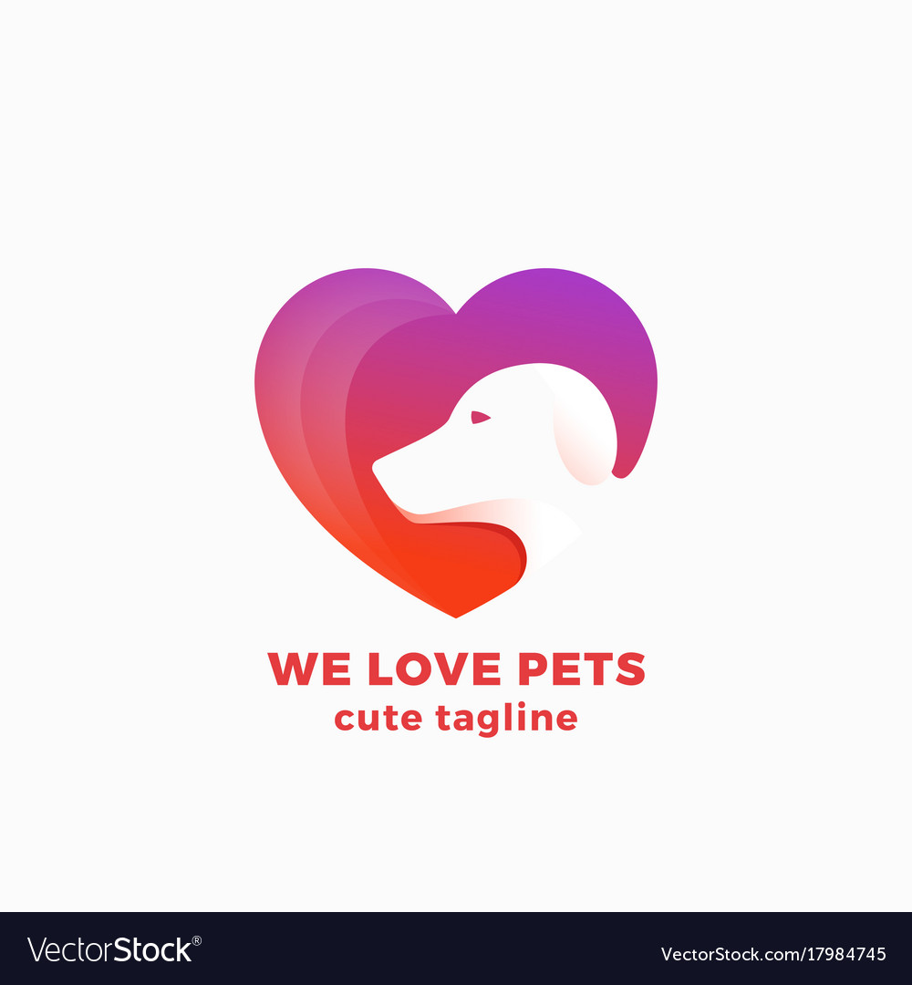We love pets abstract symbol sign or logo vector image