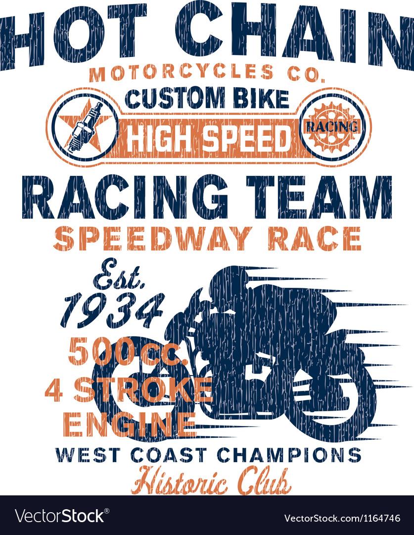 Vintage motorcycles racing team vector image
