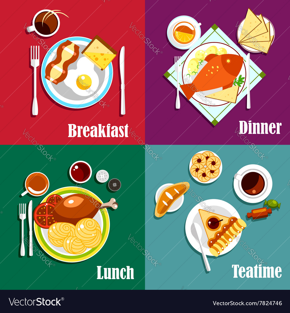 Continental breakfast lunch and dinner vector image