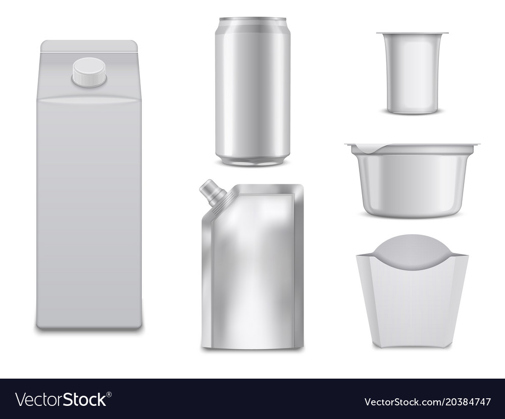 Empty food packages white boxes and containers vector image