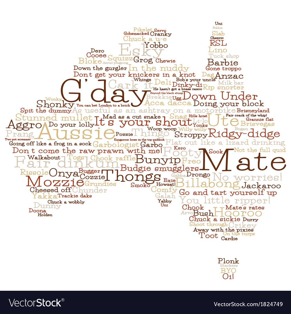 Australia Map Made From Australian Slang Words In Royalty Free - Map of us drawn by australian