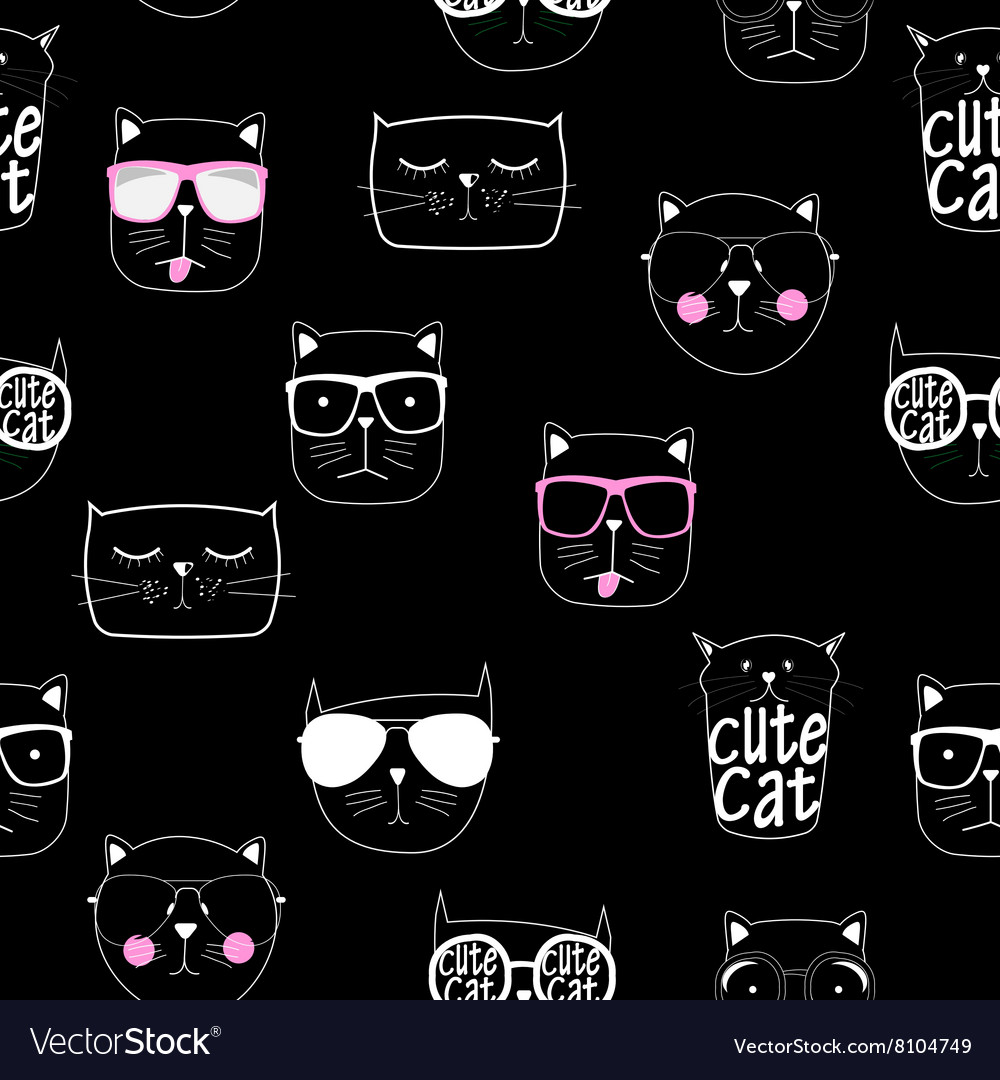 Cute Handdrawn Cat Seamless Pattern vector image