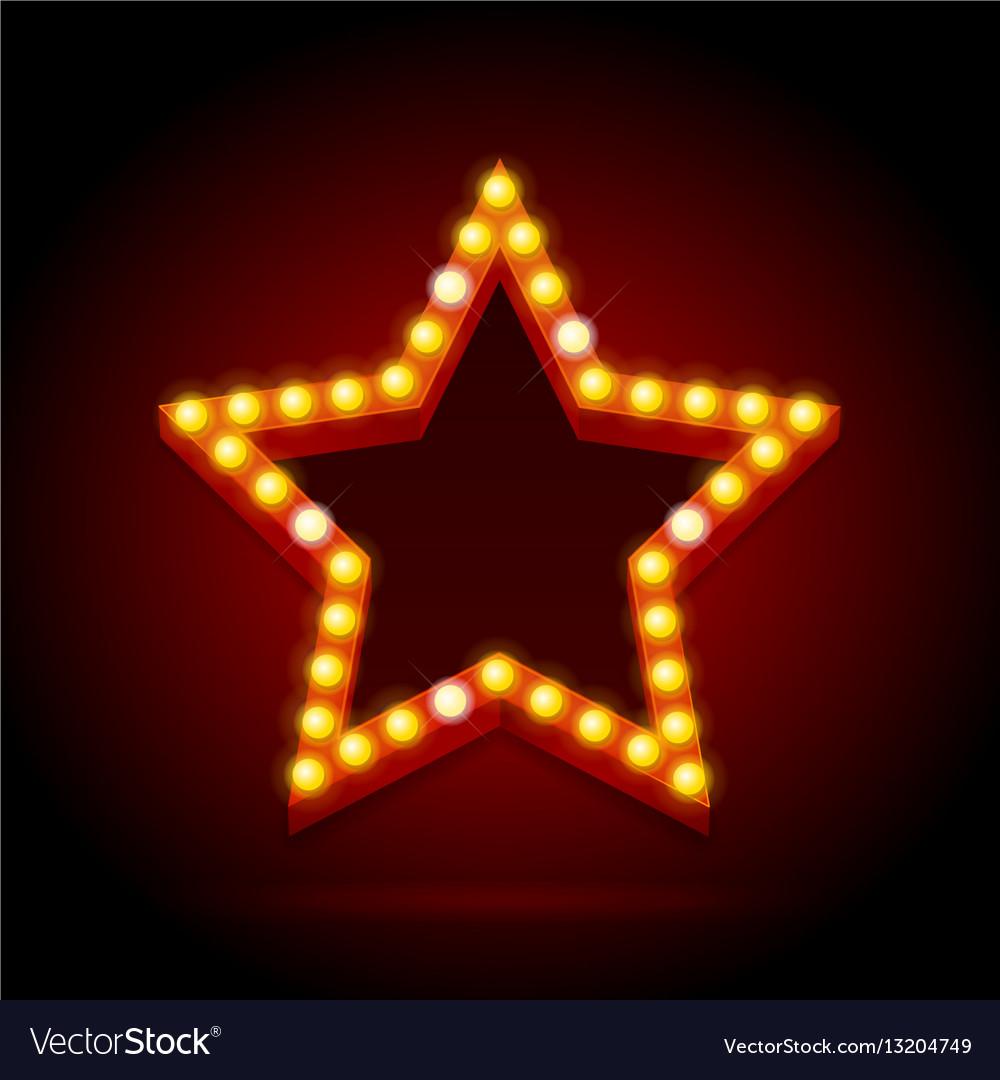 Light bulbs vintage neon glow star shape vector image