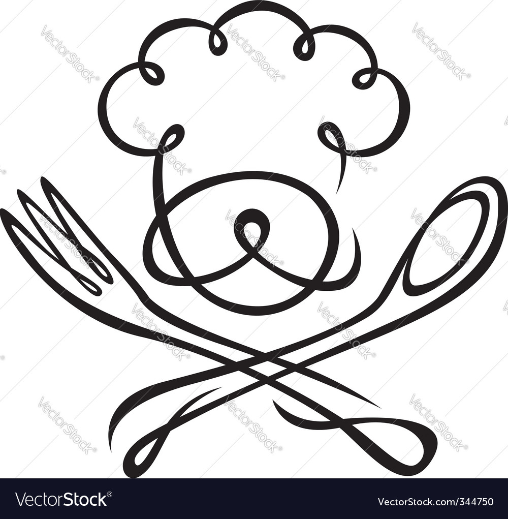 Chef with spoon and fork vector image