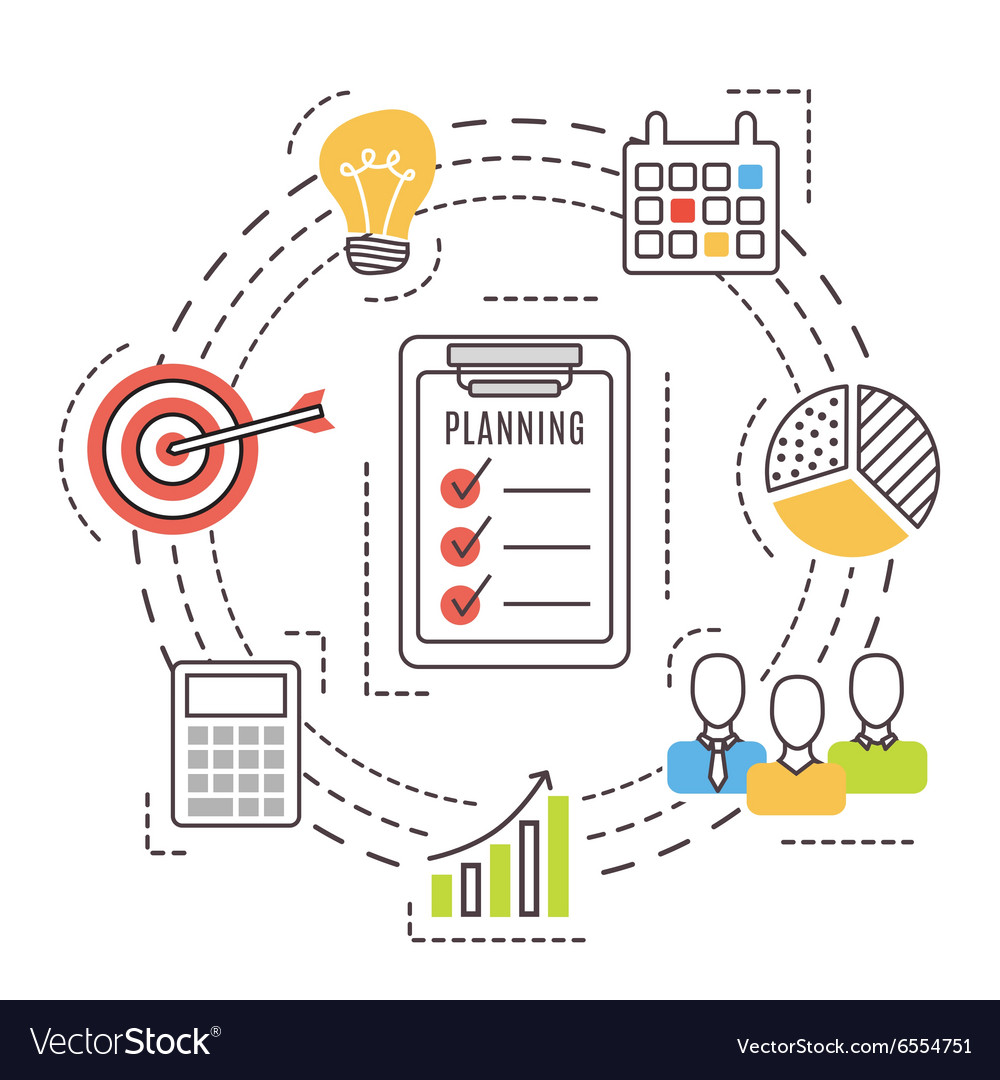 Business planning Thin line flat icons vector image