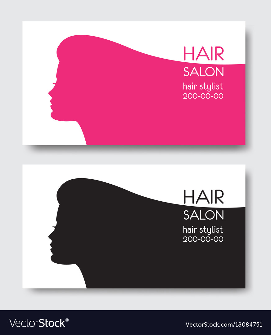 Hair Salon Business Card Templates With Beautiful Vector Image - Hair salon business card template