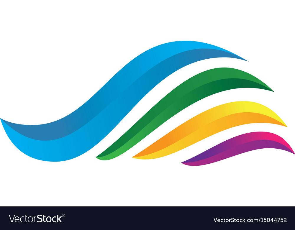 3d wave colorful vector image