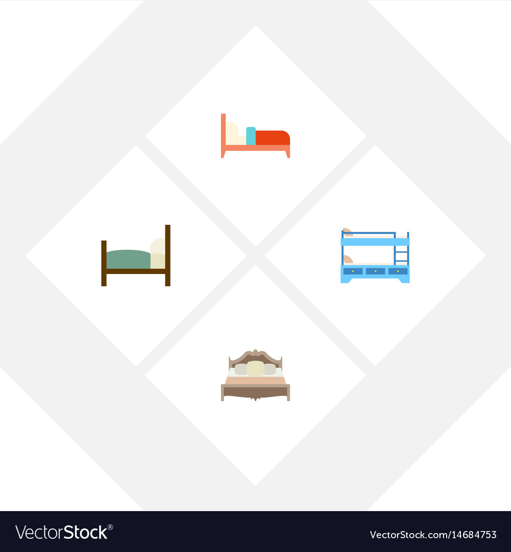 Flat mattress set of bed bedroom bunk bed and vector image