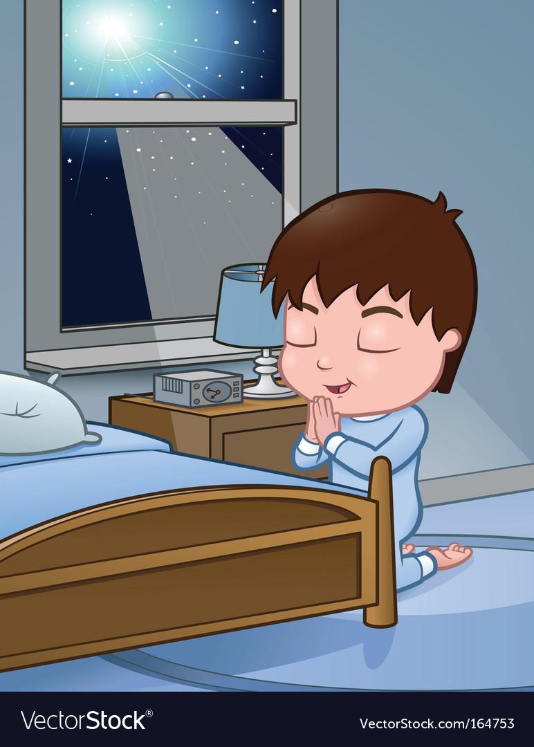 Little boy praying vector image