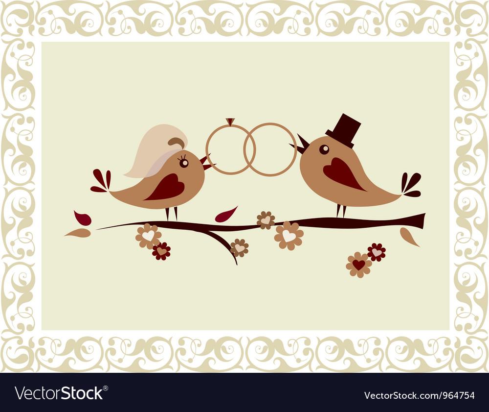 Wedding invitation with birds vector image