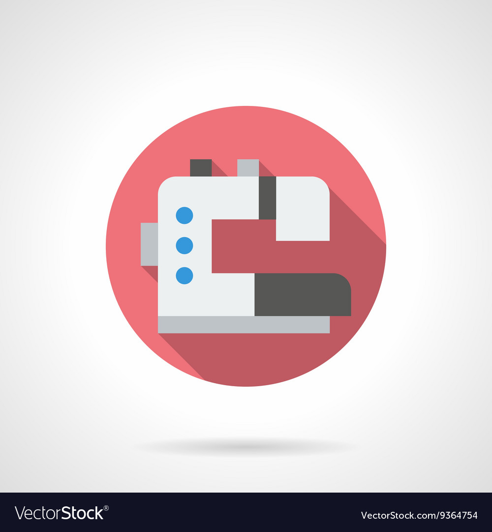 Embroidery equipment round flat icon vector image