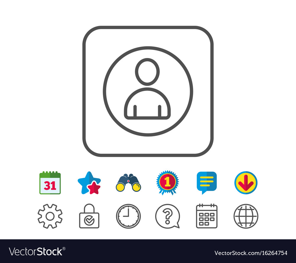 User line icon profile avatar sign vector image