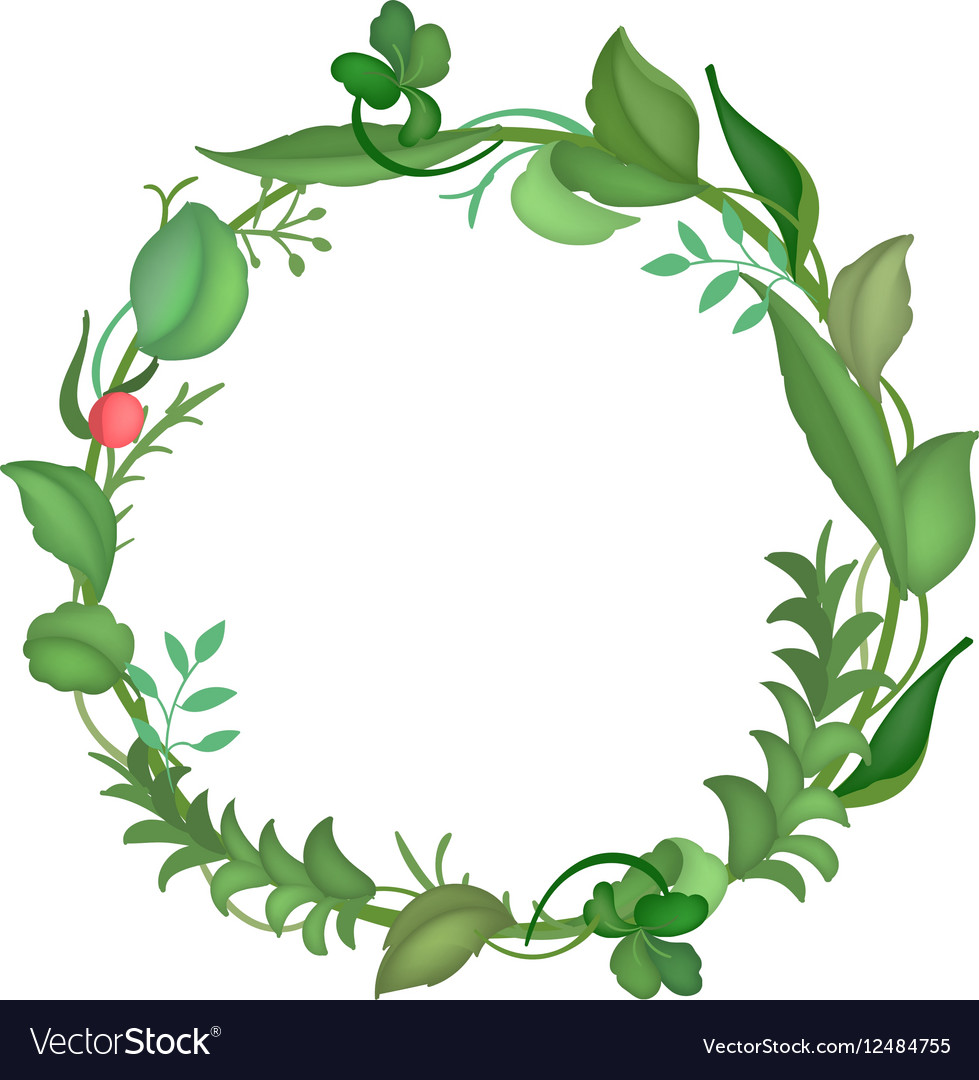 Postcard with a round frame of leaves vector image