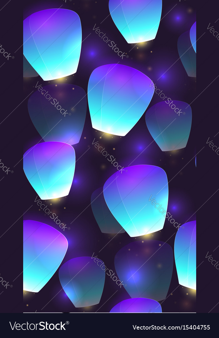 Seamless festive texture sky lanterns and sparks vector image
