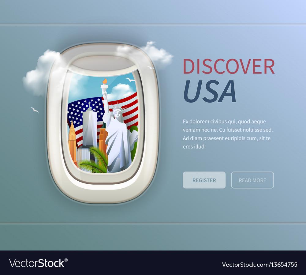 Usa porthole background vector image