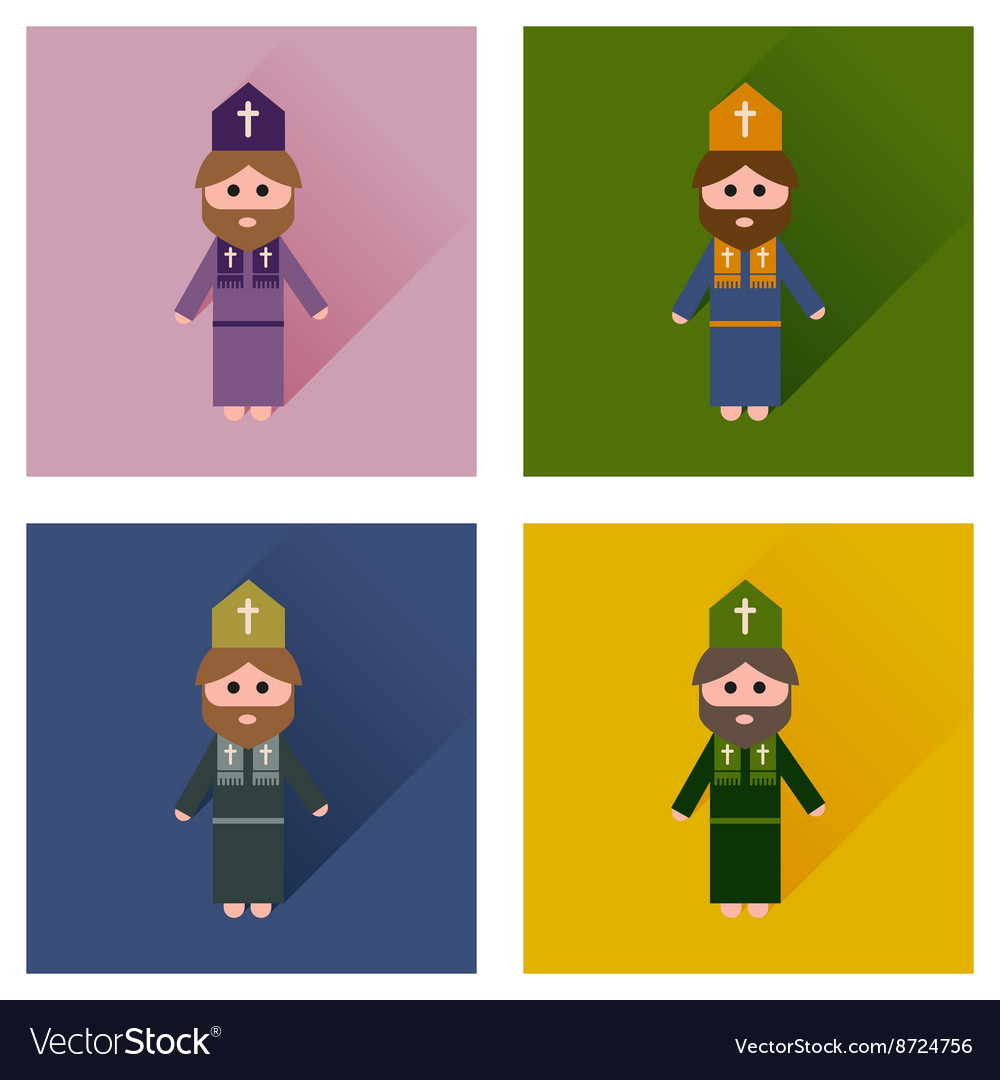 Concept of flat icons with long shadow Christian